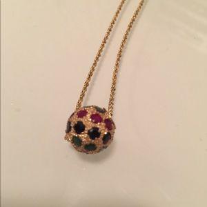 Jewelry - 14k Gold Ruby, Emerald, Sapphire Ball Pendant